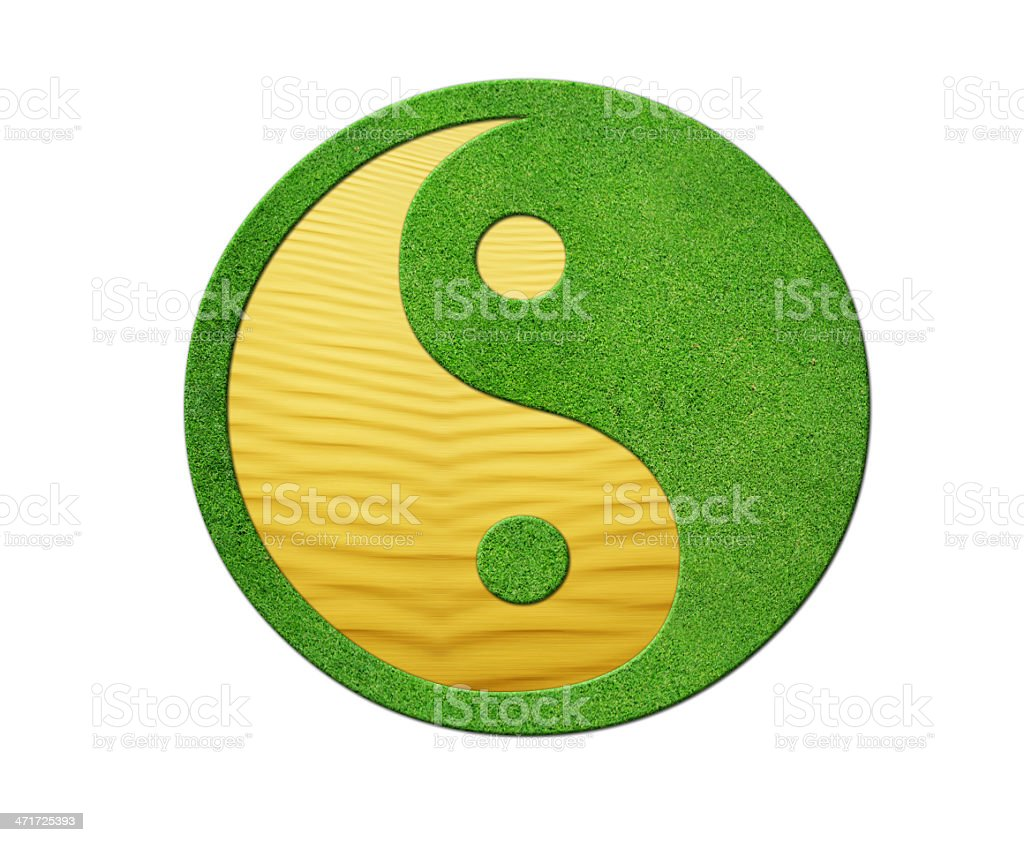 Ying Yang 2 Elements in balance, desert and gras royalty-free stock photo