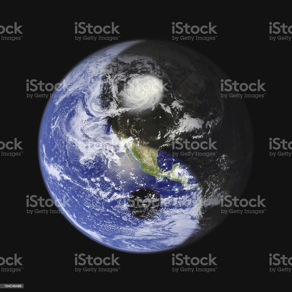 Yin-Yang Earth Symbol - Concept for Peace, Balance and Sustainability royalty-free stock photo