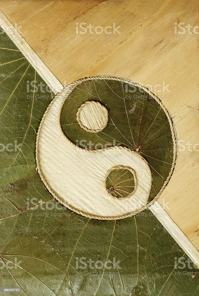 Yin-Yang symbol made from wood and leaves, cream and green stock photo