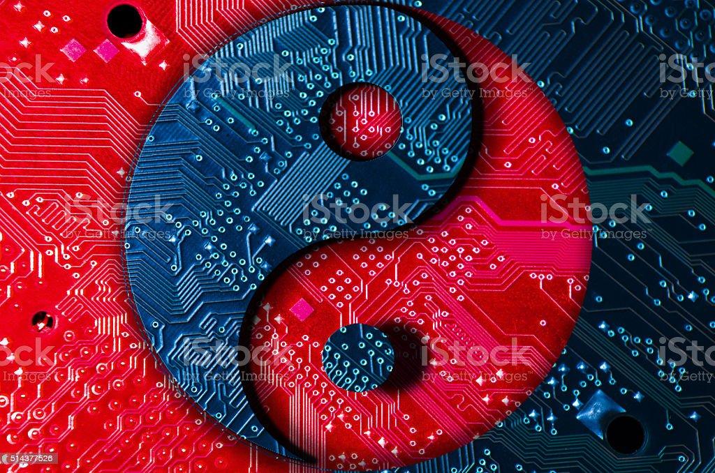 yin-yang technology stock photo