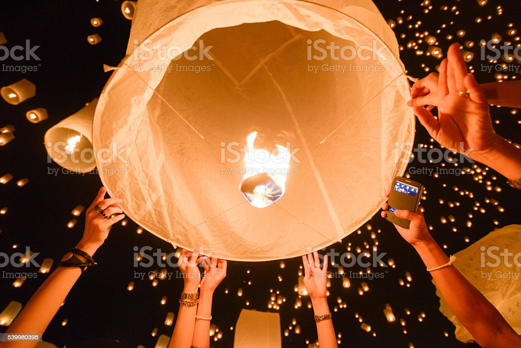 Yipeng lantern festival in Chiangmai, Thailand. stock photo
