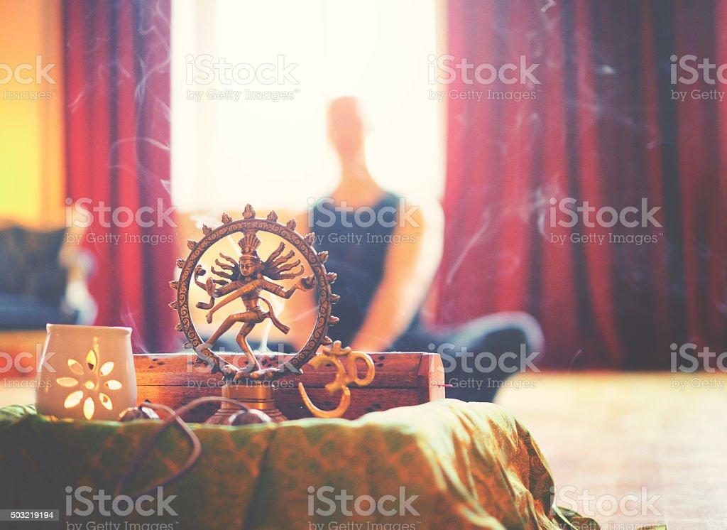 Yoga altar with light and meditation stock photo