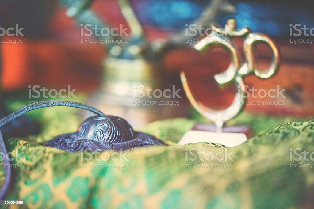 Yoga altar with light and OM-sign stock photo