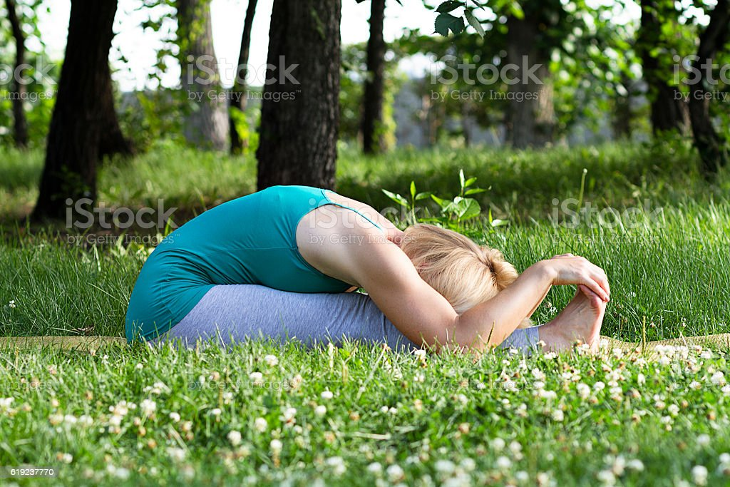 yoga and gymnastics practice stock photo