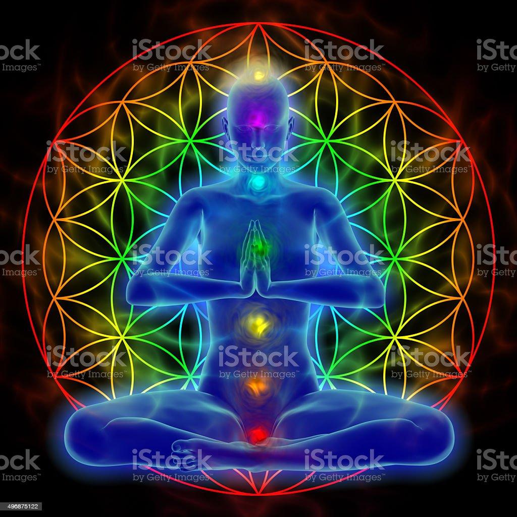 Yoga and meditation - flower of life stock photo