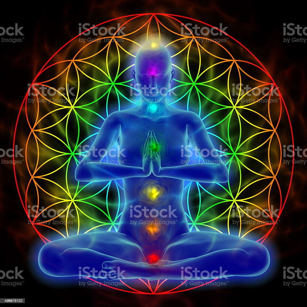 Yoga and meditation - flower of life stock photo