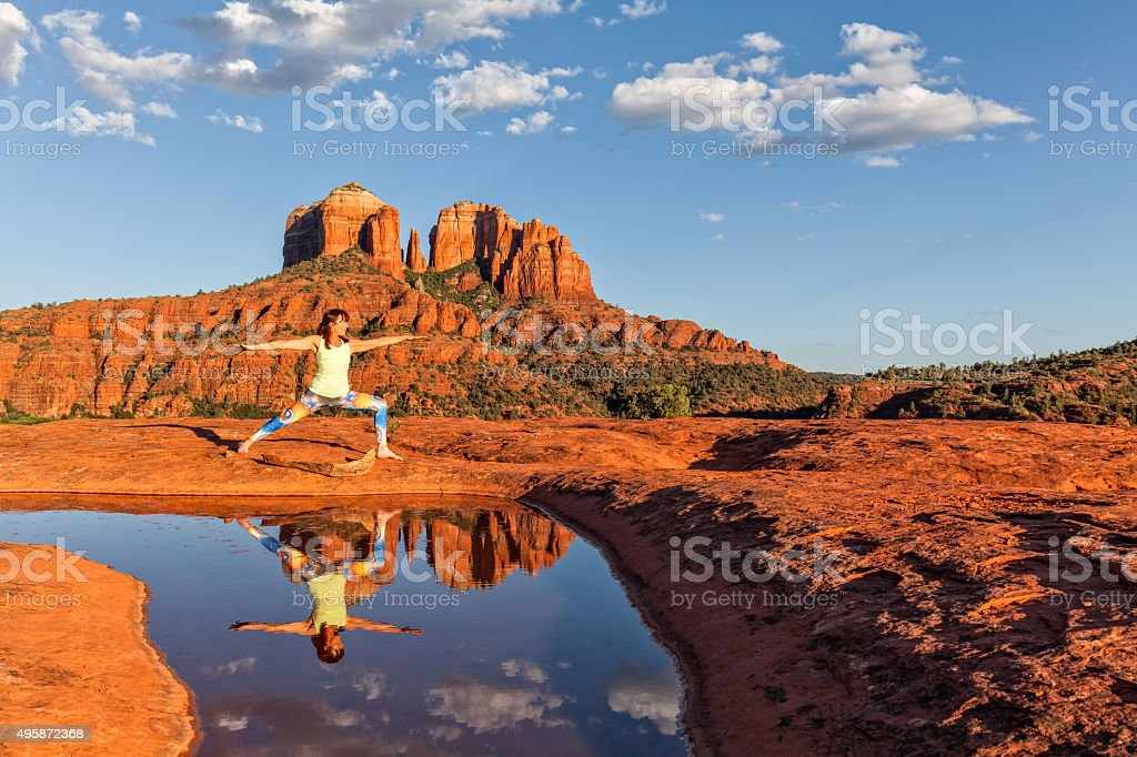 Yoga at Cathedral rock Sedona stock photo