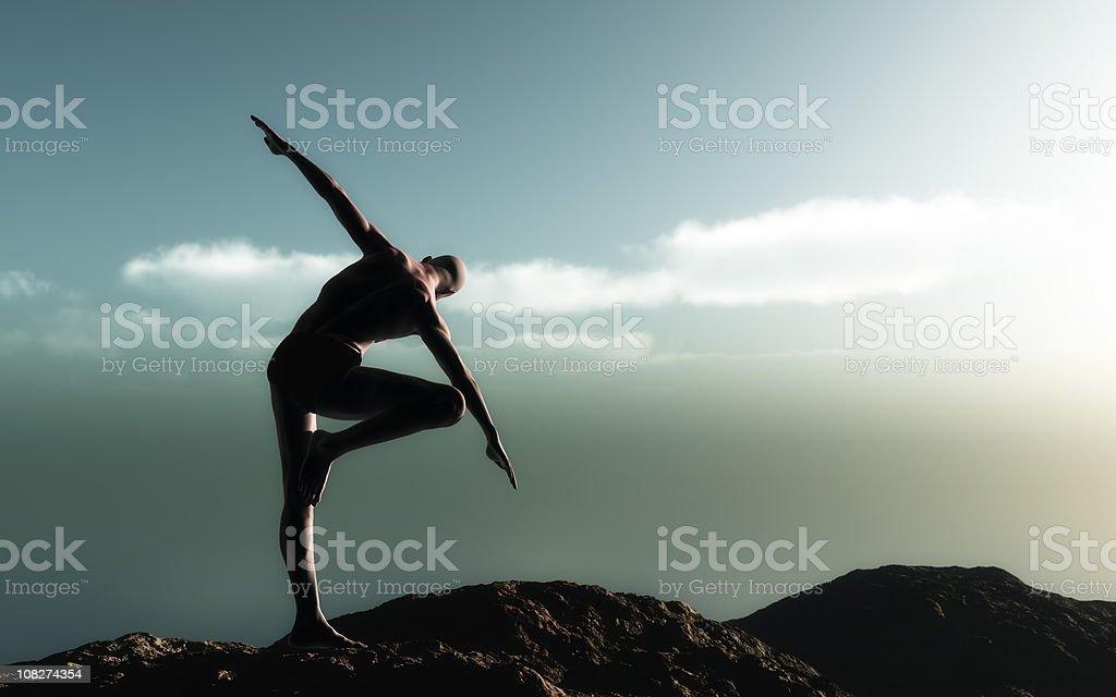 Yoga At Dawn (Vrksasana) royalty-free stock photo