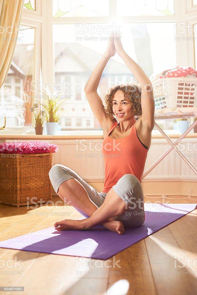yoga at home stock photo