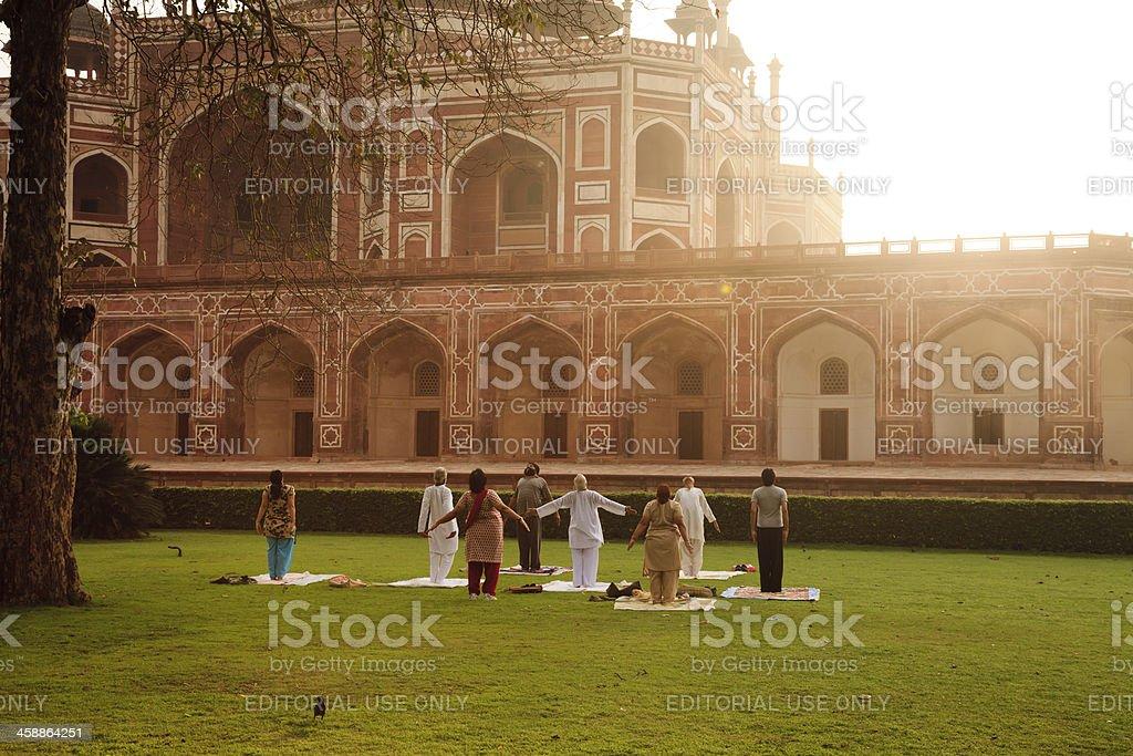 Yoga at Humayun's Tomb, Dehli, India royalty-free stock photo