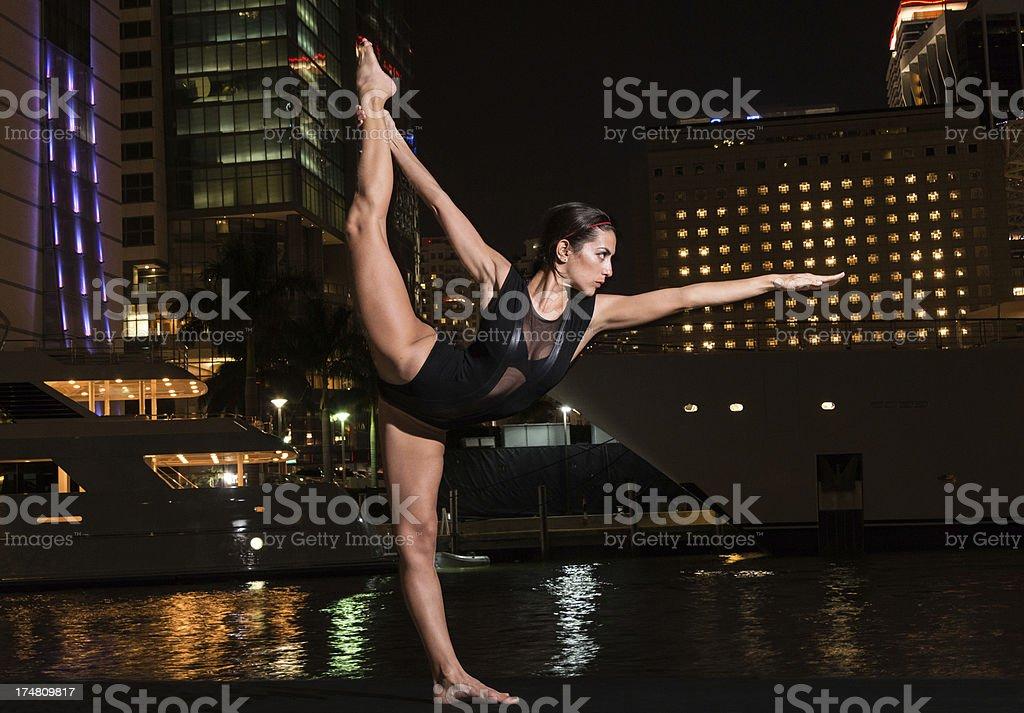 Yoga at Night stock photo