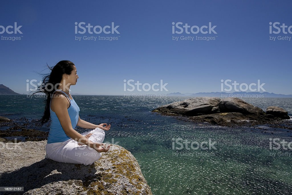 Yoga at the water royalty-free stock photo