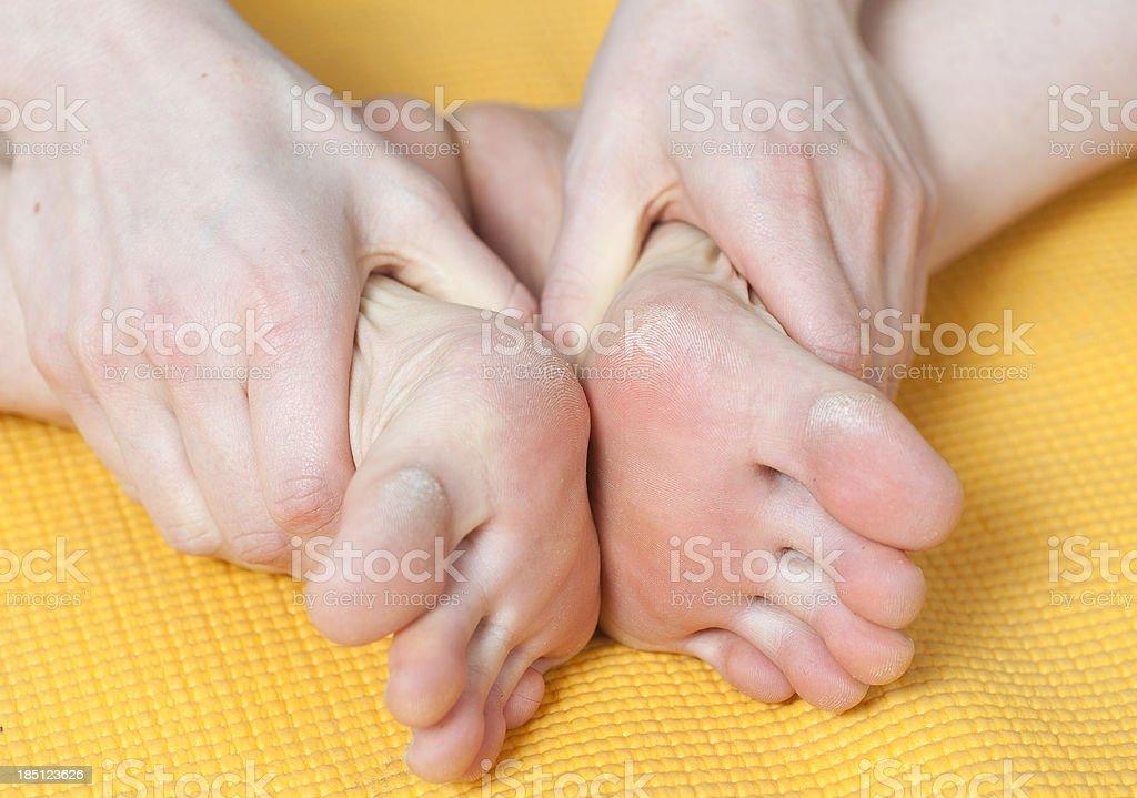 yoga -  athlete's foot? stock photo