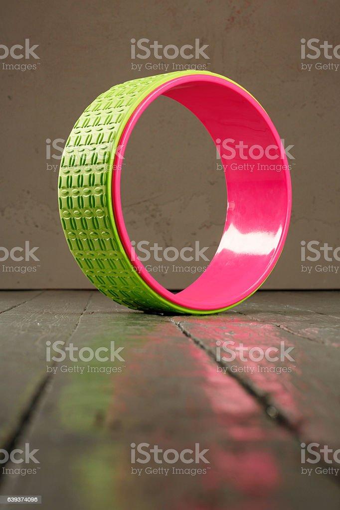 Yoga block Pilates wheel  Stretching training equipment  Fitness health club stock photo