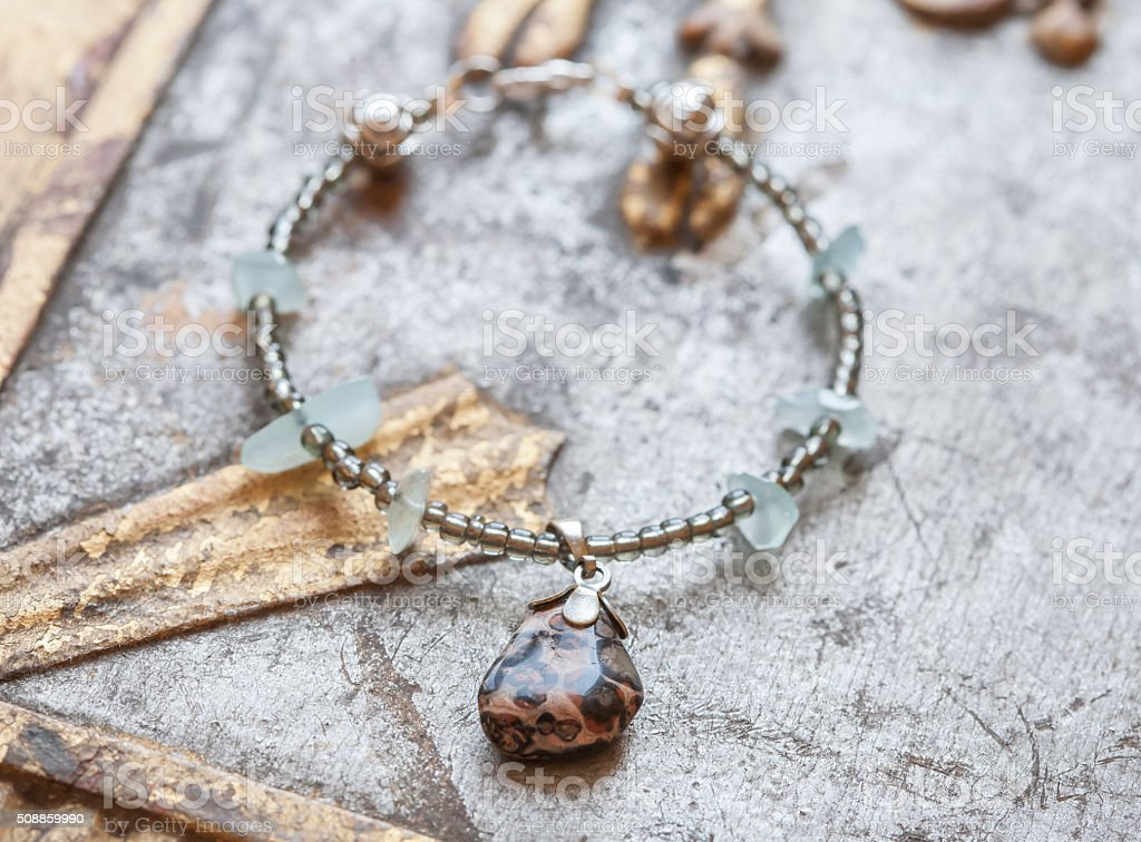 Yoga bracelet with minerals stock photo