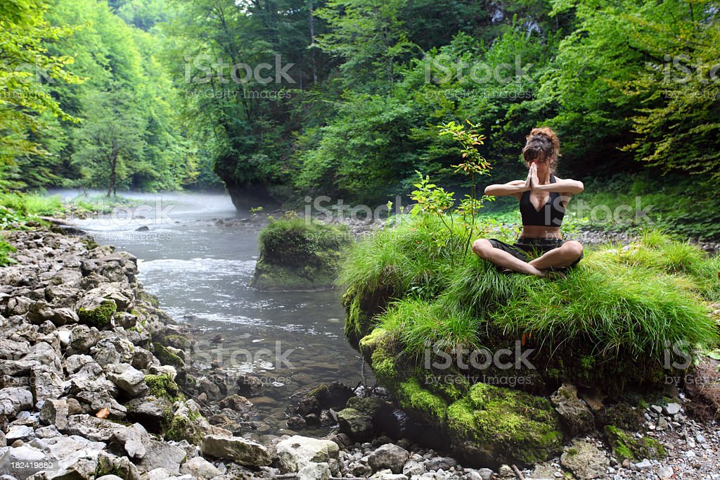 Yoga by river royalty-free stock photo