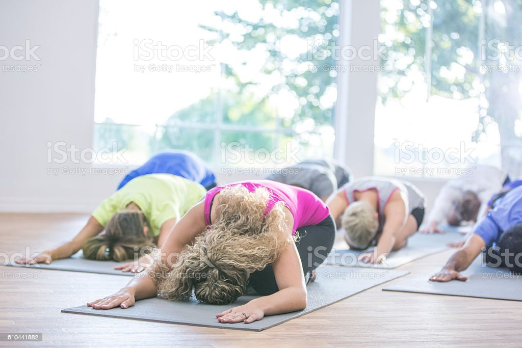Yoga Class at the Gym stock photo