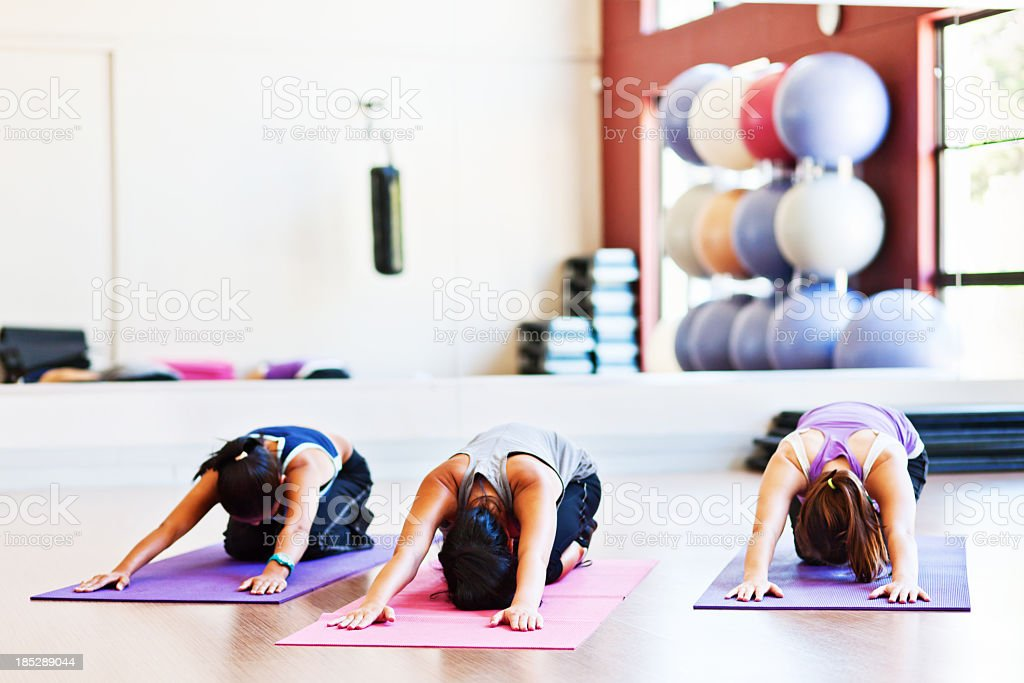 Yoga class does Salute to Sun in an all-female gym stock photo