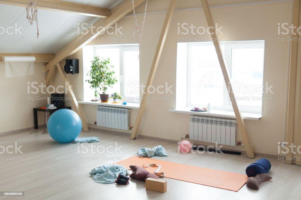 Yoga class interior stock photo