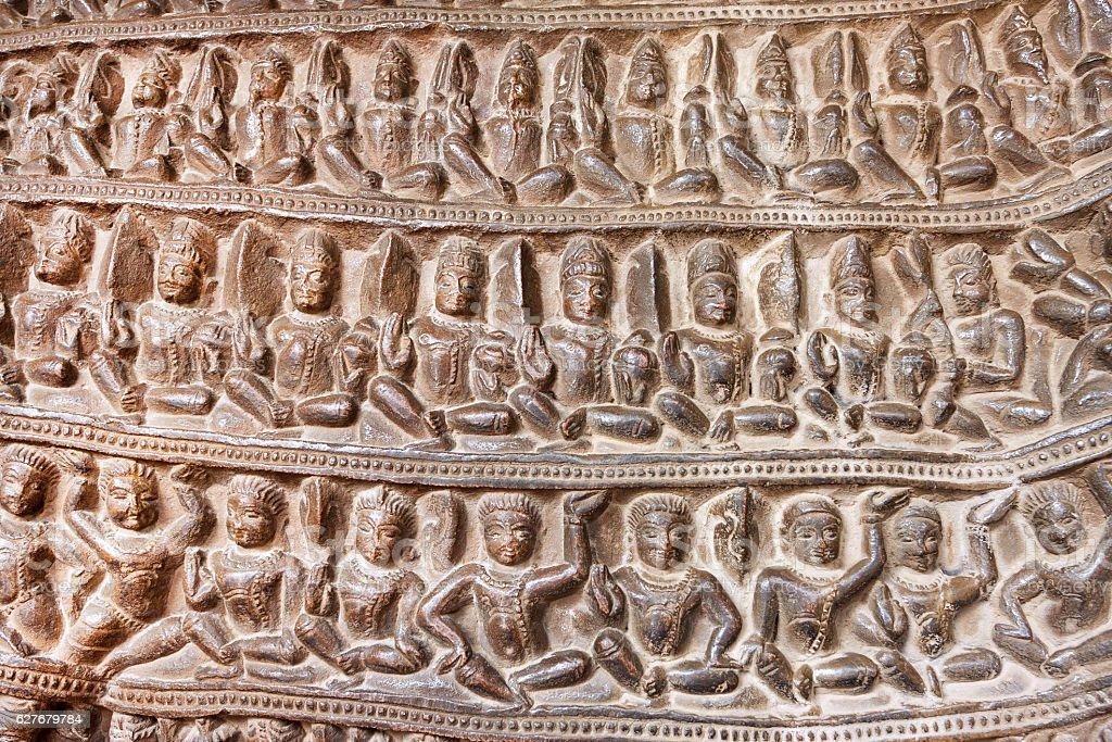 Yoga classes on temple of Khajuraho, built in 950, India stock photo