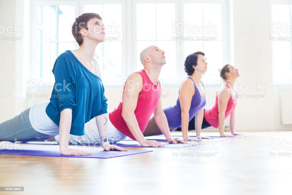 Yoga cobra position stock photo