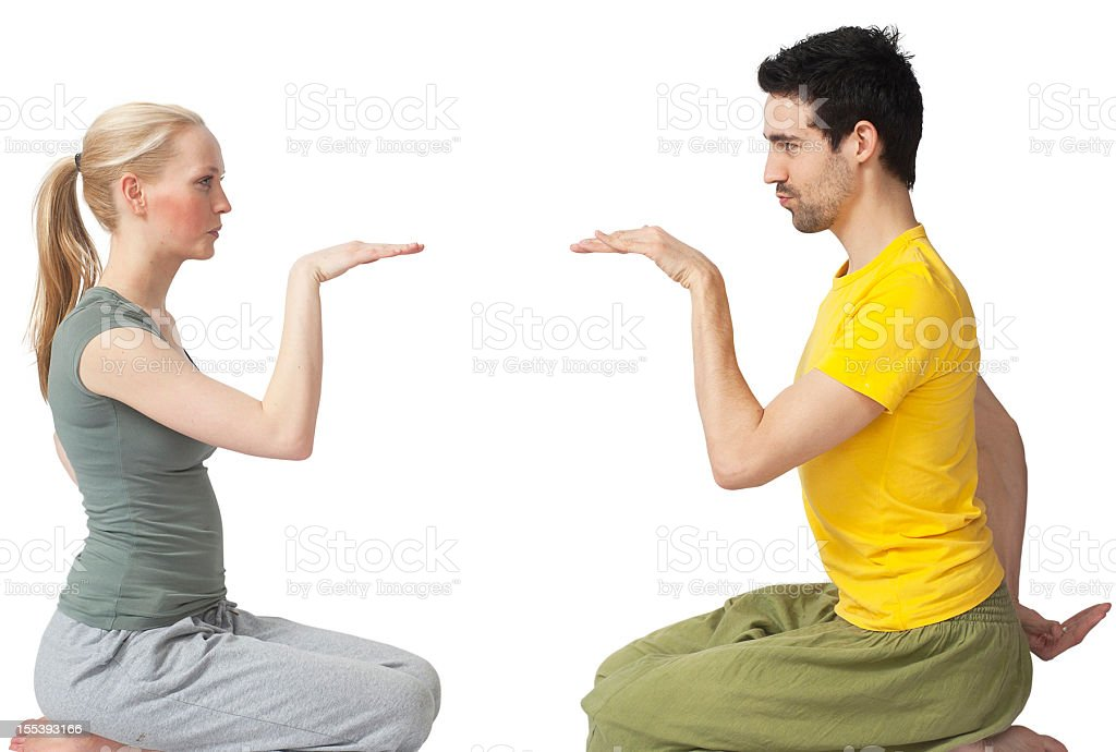 yoga couple making the egyptian stock photo