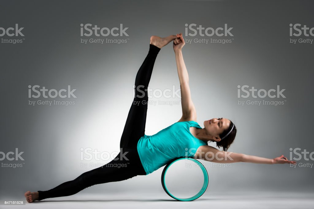 yoga dancer woman using pilate ring support body stock photo