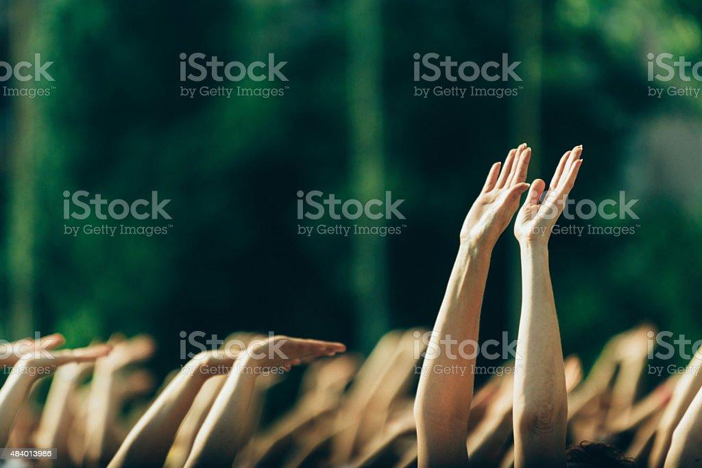 Yoga Day Gathering stock photo