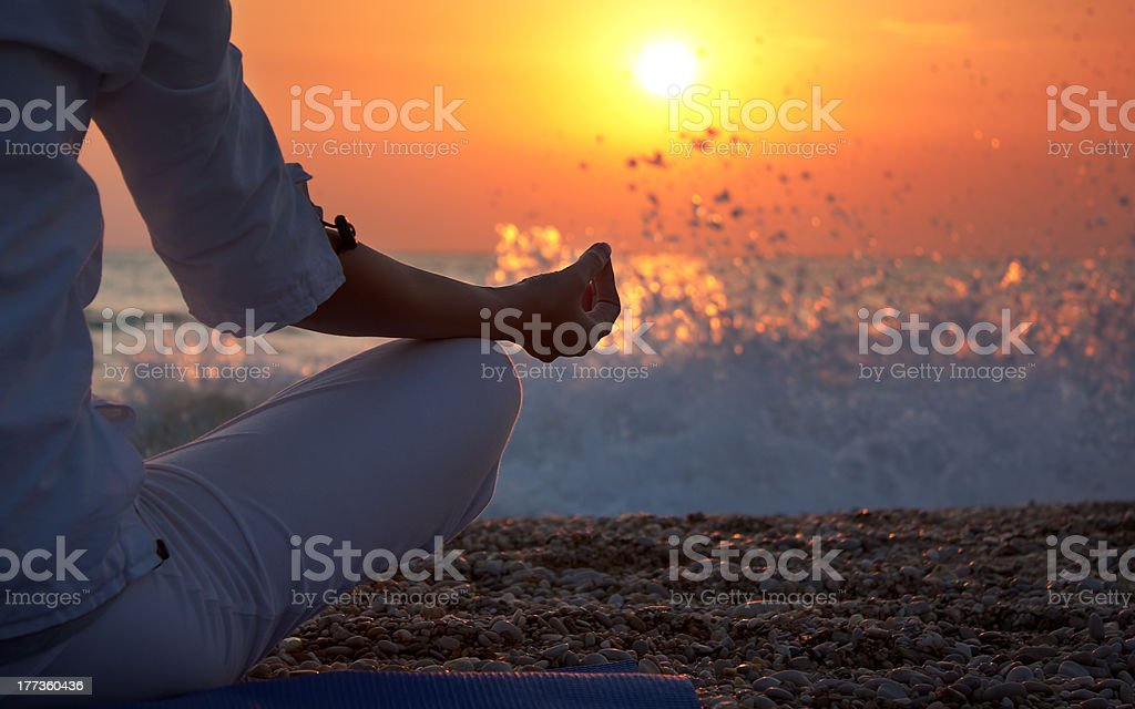 Yoga Details Woman Hand stock photo