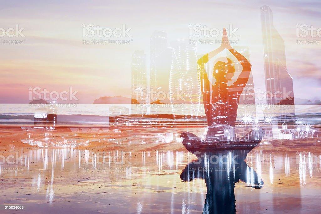 yoga double exposure stock photo