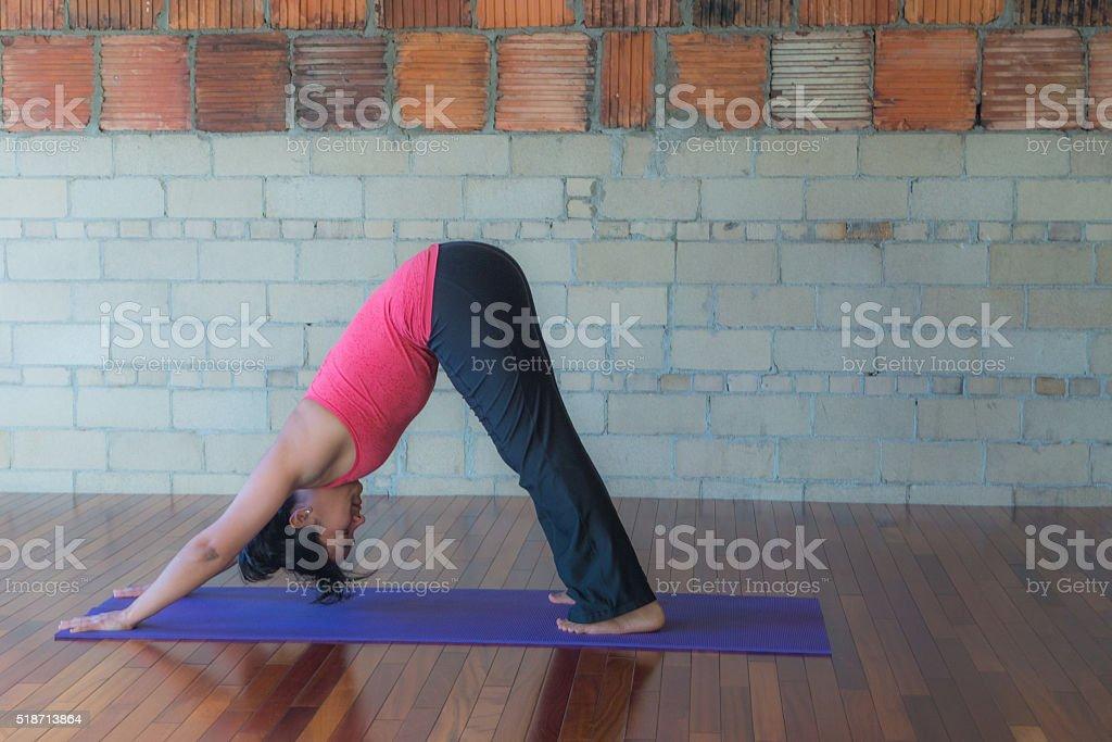 yoga downward dog pose stock photo