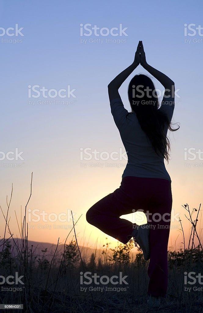 yoga during sunset royalty-free stock photo