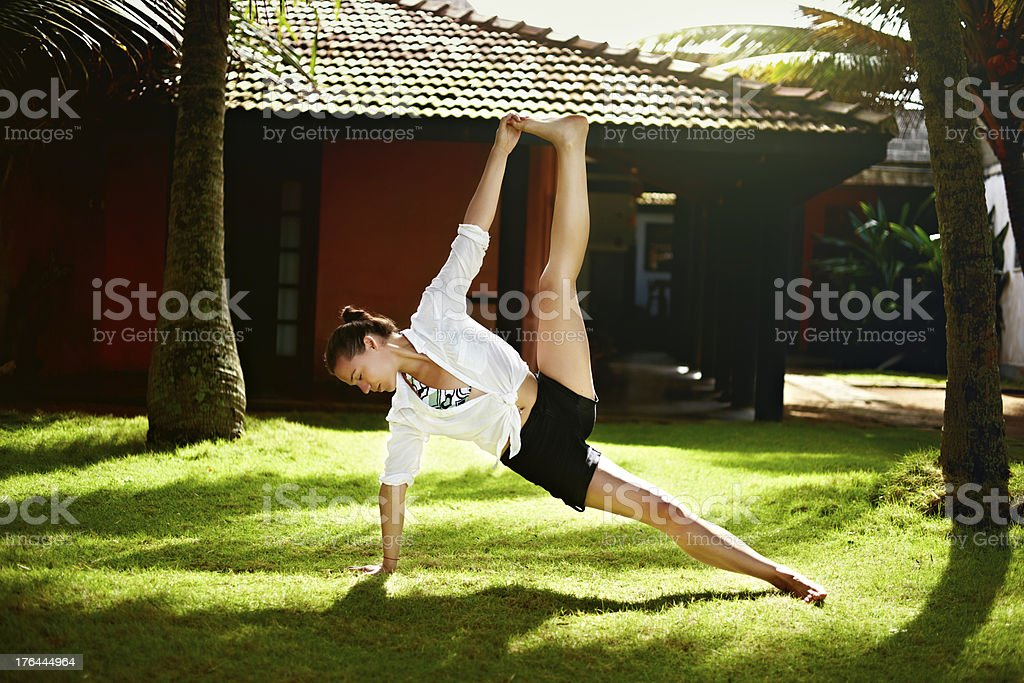 Yoga exercise in Sri Lanka royalty-free stock photo