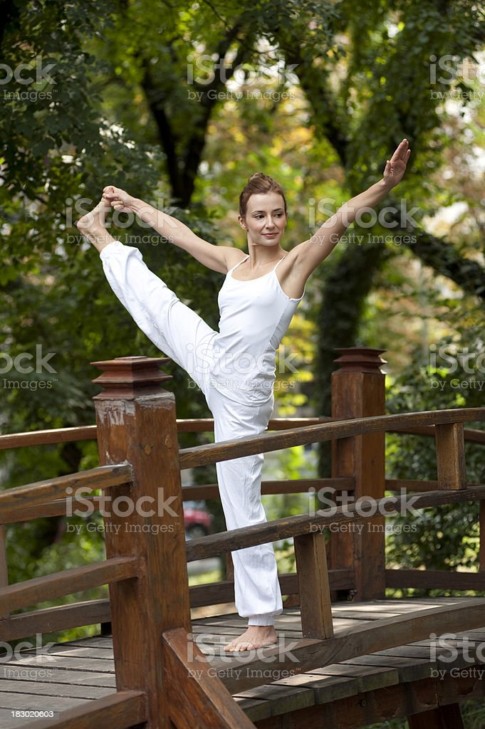 Yoga exercise in the nature stock photo