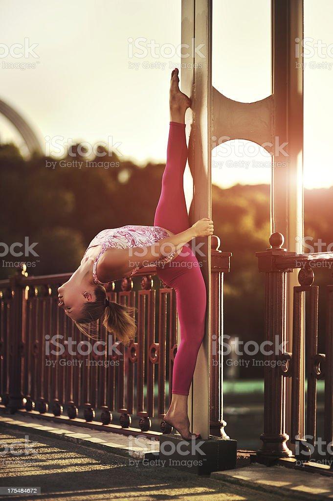 Yoga exercise (street) royalty-free stock photo