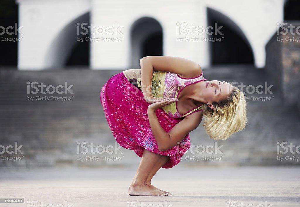 Yoga exercise (street) stock photo
