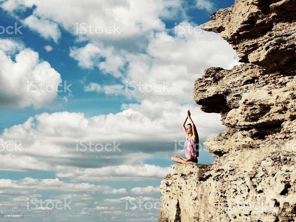 Yoga exercise (Padmasana) royalty-free stock photo