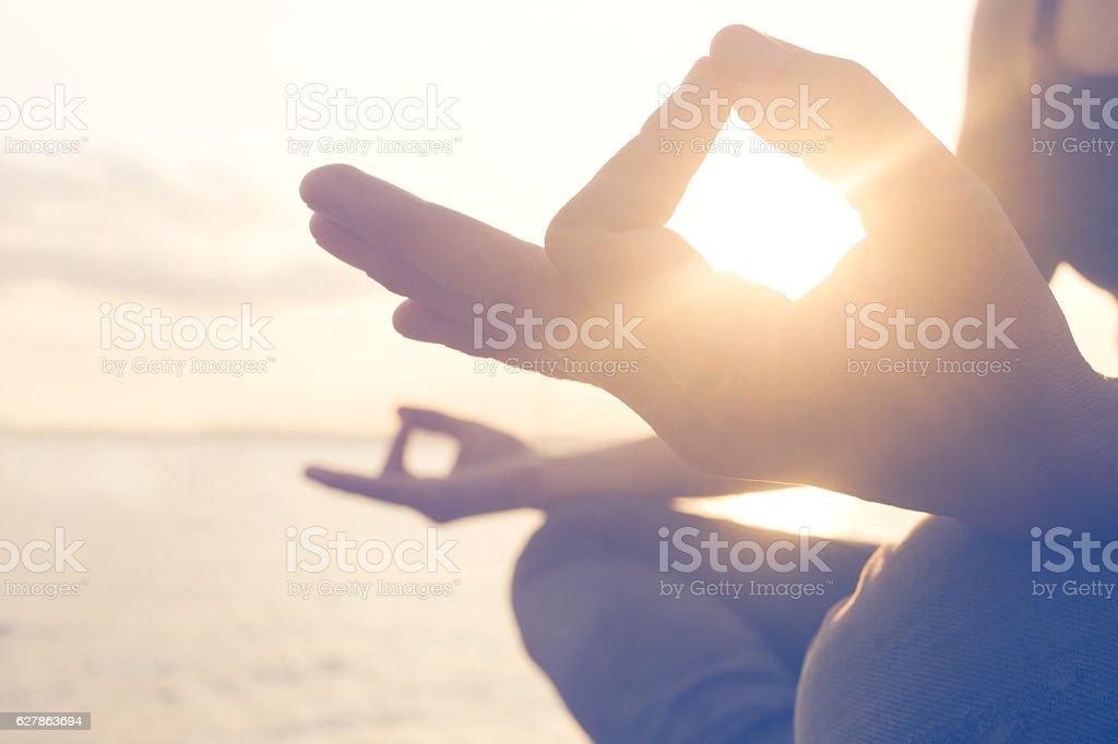 Yoga exercises seafront stock photo