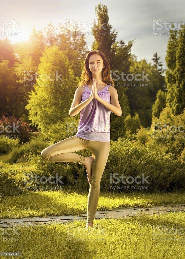 Yoga Vrikshasana Sport () photo libre de droits