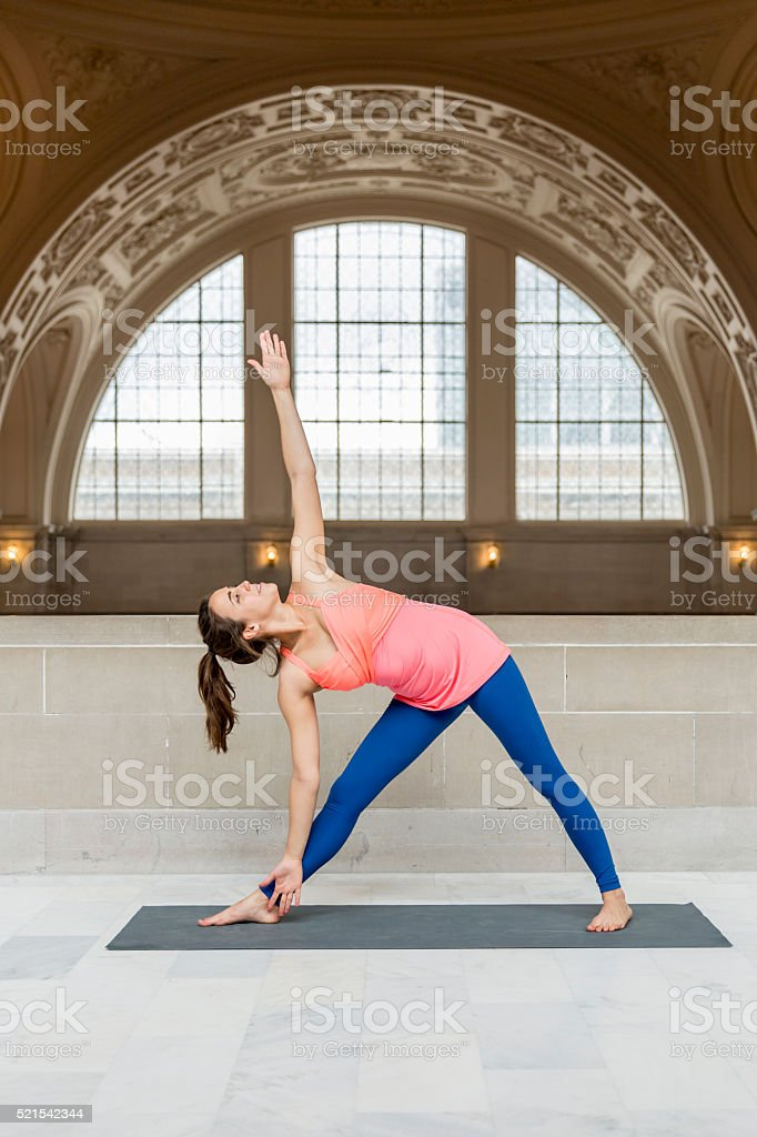Yoga Extended Triangle stock photo