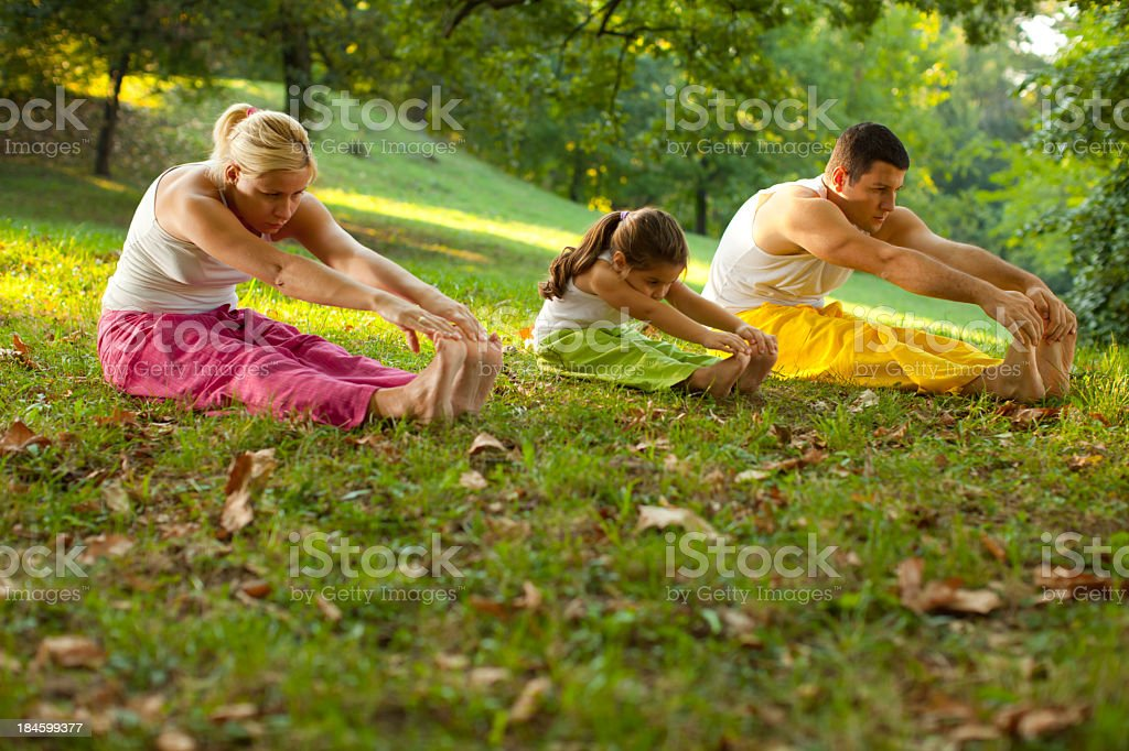 Yoga family stock photo