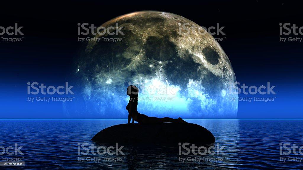 3D yoga female against the moon stock photo