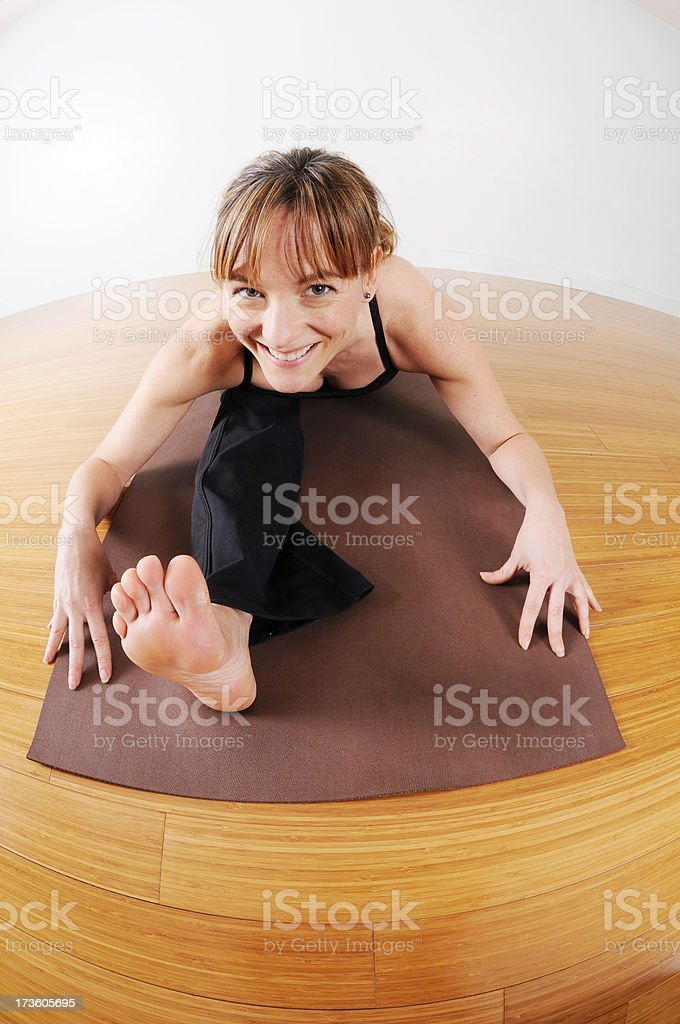 Yoga Fisheye Series: The Splits royalty-free stock photo