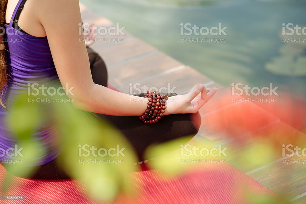 Yoga, fitness and lifestyle concept stock photo