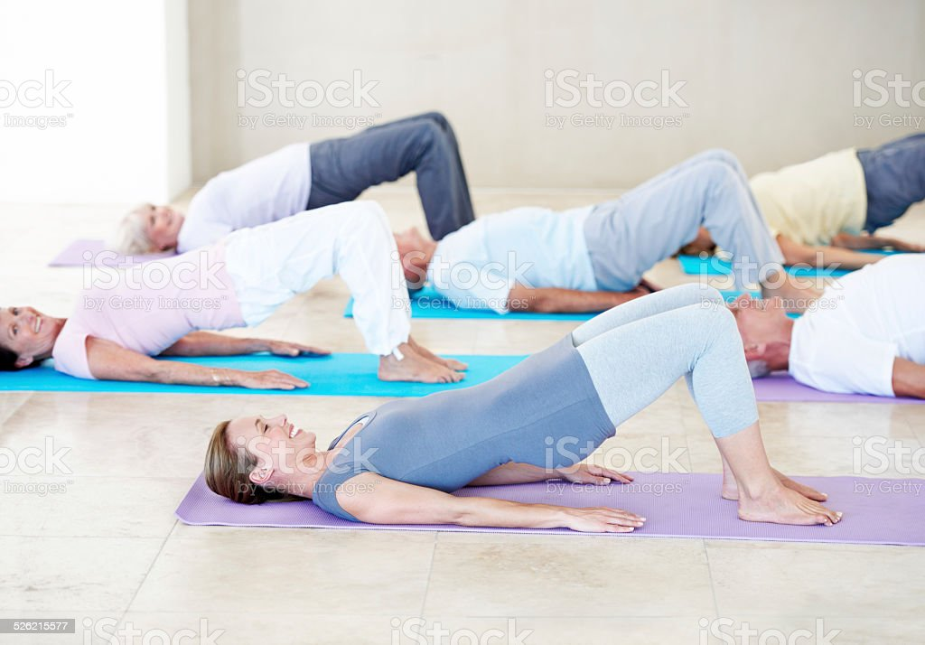 Yoga for health and happiness stock photo