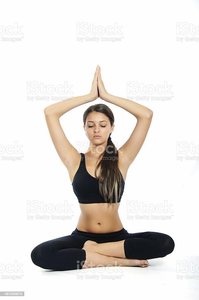 yoga girl on a white background stock photo