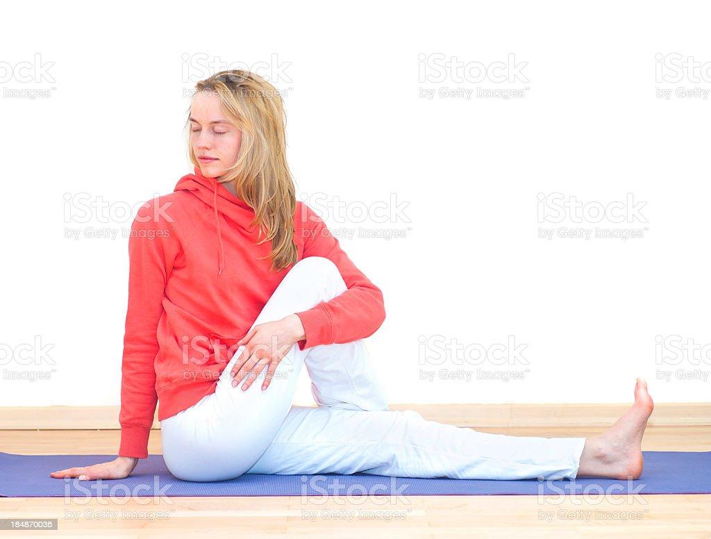 yoga girl with brown hair doing gym stock photo