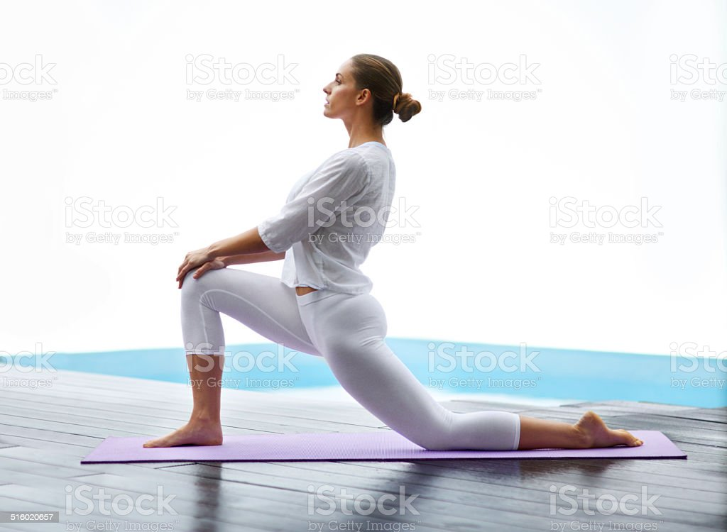 Yoga gives her a way to unwind stock photo