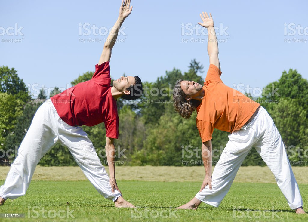 yoga group outside on meadow with four people stretching aerobic royalty-free stock photo