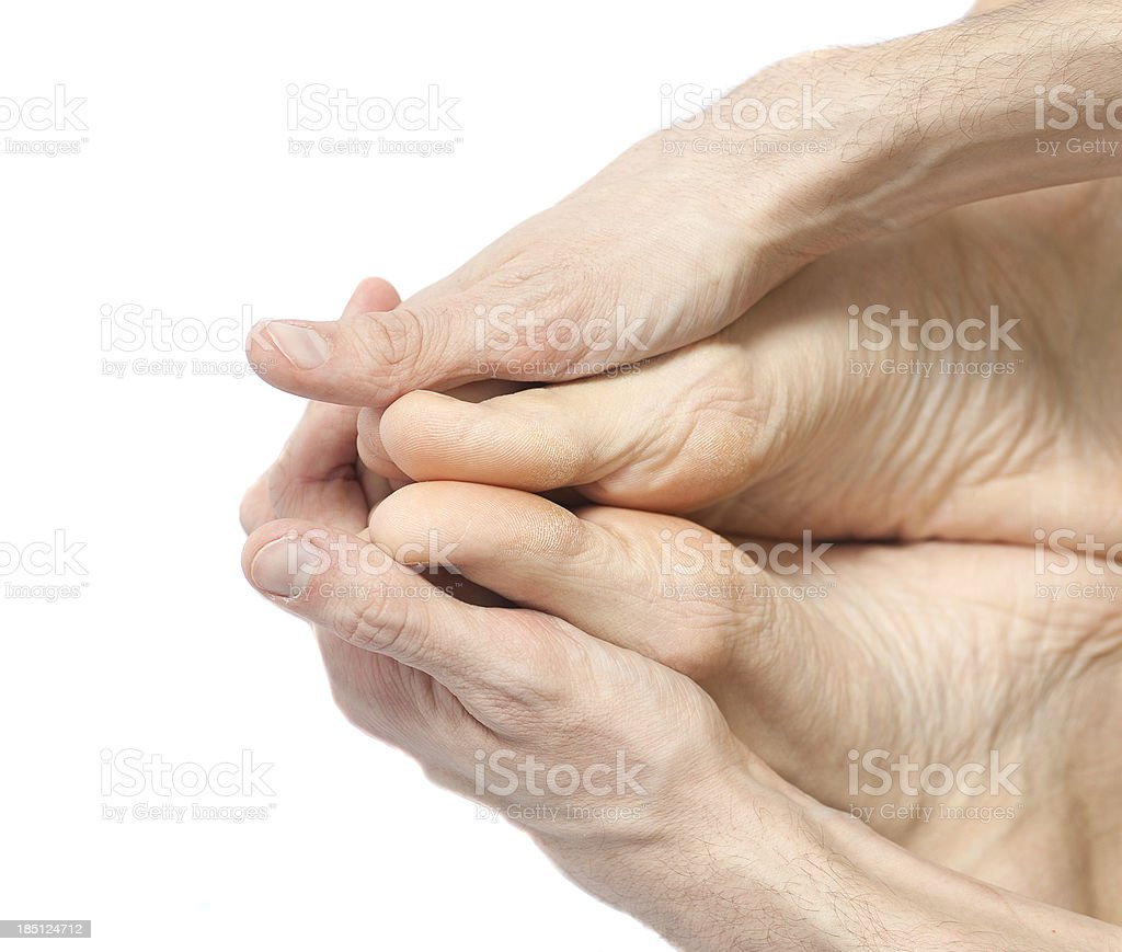 yoga hands and feets on white background studio shot stock photo